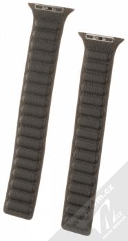 1Mcz Kožený tah řemínek pro Apple Watch 42mm, Watch 44mm černá (black)