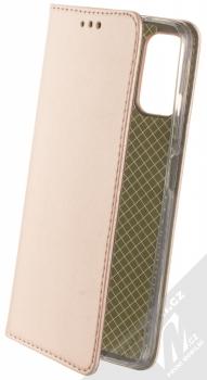 1Mcz Magnetic Book flipové pouzdro pro Xiaomi Redmi Note 10 5G, Poco M3 Pro růžově zlatá (rose gold)