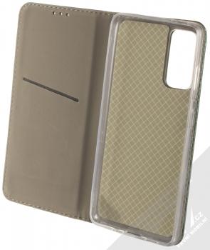 1Mcz Magnetic Book flipové pouzdro pro Samsung Galaxy S20 FE tmavě zelená (dark green) otevřené