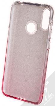 1Mcz Shining Duo TPU třpytivý ochranný kryt pro Huawei Y7 (2019) stříbrná růžová (silver pink) zepředu