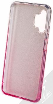 1Mcz Shining Duo TPU třpytivý ochranný kryt pro Samsung Galaxy A32 5G stříbrná růžová (silver pink) zepředu