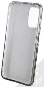 1Mcz Shining Duo TPU třpytivý ochranný kryt pro Xiaomi Redmi 9T stříbrná černá (silver black) zepředu