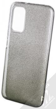 1Mcz Shining Duo TPU třpytivý ochranný kryt pro Xiaomi Redmi 9T, Poco M3 stříbrná černá (silver black)