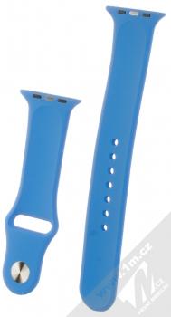 1Mcz Silikonový sportovní řemínek pro Apple Watch 42mm, Watch 44mm chrpově modrá (cornflower blue) zezadu