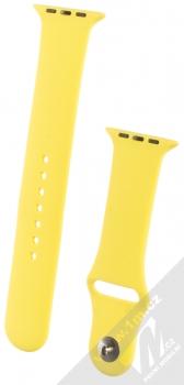 1Mcz Silikonový sportovní řemínek pro Apple Watch 42mm, Watch 44mm citrónově žlutá (lemon)