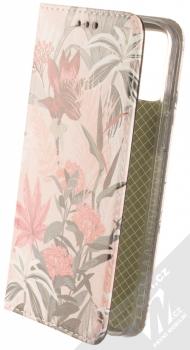 1Mcz Trendy Book Lilie a kapradí 1 flipové pouzdro pro Apple iPhone 12 Pro Max světle růžová (light pink)