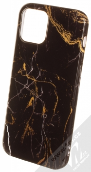 1Mcz Trendy Mramor TPU ochranný kryt pro Apple iPhone 12, iPhone 12 Pro černá zlatá (black gold)