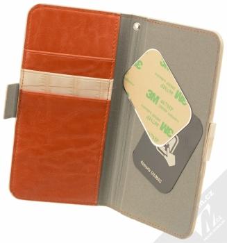 4smarts Ultimag Wallet Norwalk Croco do 5,2 univerzální flipové pouzdro béžová (beige) otevřené s kovovými plíšky