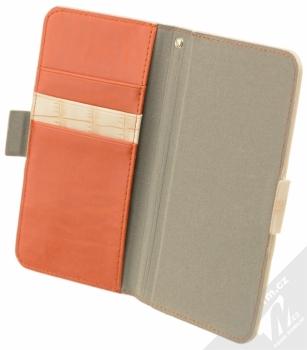 4smarts Ultimag Wallet Norwalk Croco do 5,2 univerzální flipové pouzdro béžová (beige) otevřené