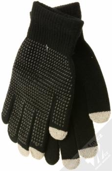 Aligator Touch Gloves Glitter pletené rukavice s cvočky pro kapacitní dotykový displej černá (black)