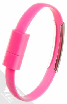 Blue Star Bracelet malý USB kabel s microUSB konektorem ve formě náramku na ruku růžová (pink) narámek zezadu