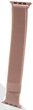 Dahase Milanese Magnetic magnetický pásek z leštěného kovu na zápěstí pro Apple Watch 42mm, Watch 44mm růžově zlatá (rose gold)