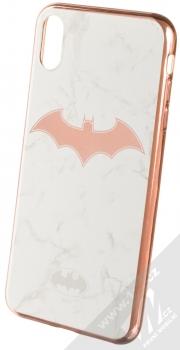 DC Comics Batman 008 TPU pokovený ochranný silikonový kryt s motivem pro Apple iPhone XS Max bílá růžově zlatá (white rose gold)
