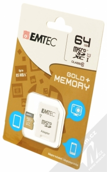 Emtec microSDXC 64GB Gold Plus Memory Class 10 (U1) paměťová karta a SD adaptér zlatá (gold) krabička