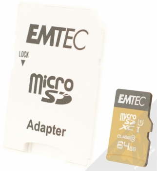 Emtec microSDXC 64GB Gold Plus Memory Class 10 (U1) paměťová karta a SD adaptér zlatá (gold)