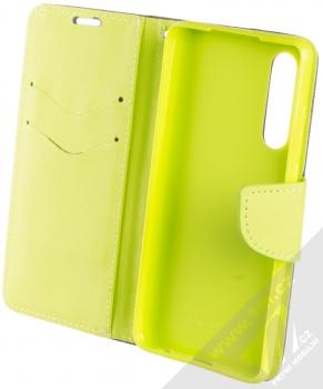Forcell Fancy Book flipové pouzdro pro Huawei P30 modrá limetkově zelená (blue lime) otevřené