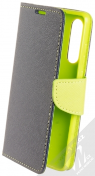 Forcell Fancy Book flipové pouzdro pro Huawei P30 modrá limetkově zelená (blue lime)