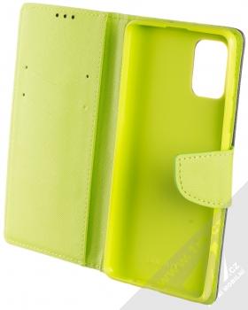 Forcell Fancy Book flipové pouzdro pro Samsung Galaxy A71 modrá limetkově zelená (blue lime) otevřené