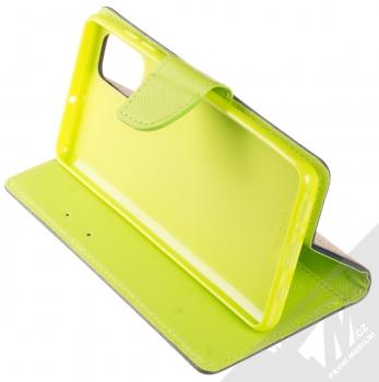 Forcell Fancy Book flipové pouzdro pro Samsung Galaxy A71 modrá limetkově zelená (blue lime) stojánek