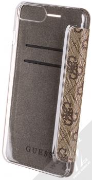 Guess Charms 4G flipové pouzdro pro Apple iPhone 6 Plus, iPhone 6S Plus, iPhone 7 Plus, iPhone 8 Plus (GUFLBKI8LGF4GBR) hnědá (brown) zezadu