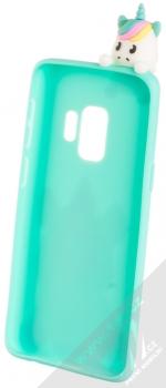 Haianguo Sedící Malý Jednorožec 3D TPU ochranný kryt s 3D postavičkou a motivem pro Samsung Galaxy S9 mátově zelená (mint green) zepředu
