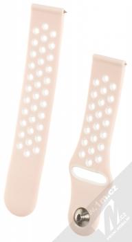 Handodo Double Color Strap silikonový pásek na zápěstí pro Samsung Galaxy Watch 42mm, Gear Sport světle růžová bílá (light pink white)