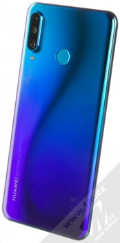 Huawei P30 Lite modrá (peacock blue) šikmo zezadu
