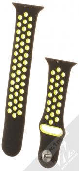 Maikes Sport Strap silikonový pásek na zápěstí pro Apple Watch 42mm, Watch 44mm černá žlutá (black yellow)