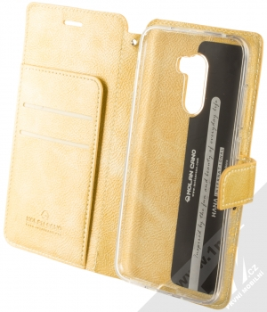 Molan Cano Issue Diary flipové pouzdro pro Xiaomi Pocophone F1 zlatá (gold) otevřené