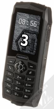 MYPHONE HAMMER 3 černá (black) šikmo zepředu
