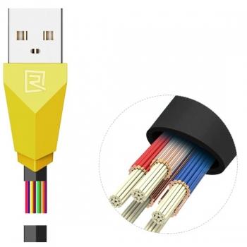 Remax Alien plochý USB kabel s Apple Lightning konektorem pro Apple iPhone, iPad, iPod černo žlutý (black yellow) vlákna
