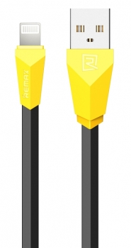 Remax Alien plochý USB kabel s Apple Lightning konektorem pro Apple iPhone, iPad, iPod černo žlutý (black yellow)