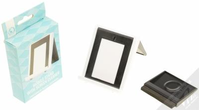 Sligo GreenGo Mobile Stand with Screen Cleaner stojánek s čisticí houbičkou pro mobilní telefon bílá černá (white black) balení