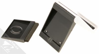Sligo GreenGo Mobile Stand with Screen Cleaner stojánek s čisticí houbičkou pro mobilní telefon bílá černá (white black) s houbičkou