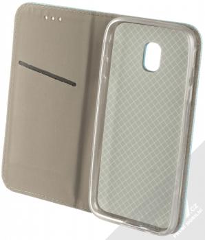 Sligo Smart Magnet flipové pouzdro pro Samsung Galaxy J3 (2017) tyrkysová (turquoise) otevřené