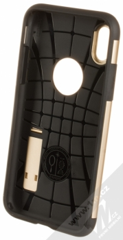 Spigen Slim Armor odolný ochranný kryt se stojánkem pro Apple iPhone X zlatá (champagne gold) zepředu