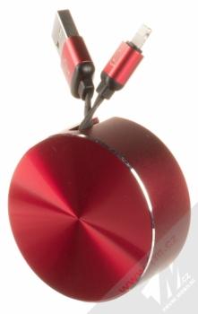 USAMS U-Bin ochranné pouzdro a samonavíjecí USB kabel s Apple Lightning konektorem červená (red)