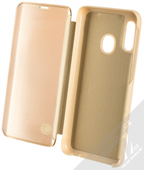 Vennus Clear View flipové pouzdro pro Samsung Galaxy A20e zlatá (gold) otevřené