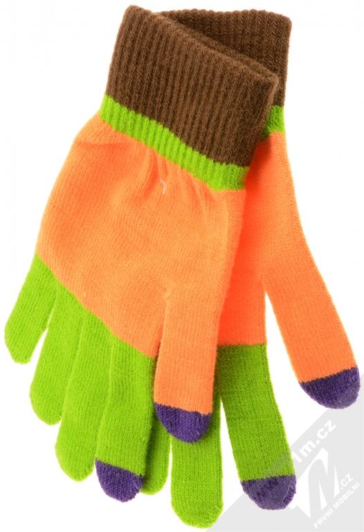 Aligator Touch Gloves Jolly pestrobarevné pletené rukavice pro kapacitní dotykový  displej oranžová (orange) 35692629be
