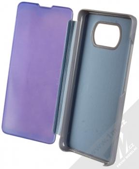 1Mcz Clear View flipové pouzdro pro Xiaomi Poco X3 NFC, Poco X3 Pro modrá (blue) otevřené