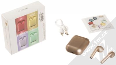 1Mcz i12 inPods Eleven Pro TWS Bluetooth stereo sluchátka růžově zlatá (rose gold) balení