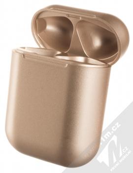1Mcz i12 inPods Eleven Pro TWS Bluetooth stereo sluchátka růžově zlatá (rose gold) nabíjecí pouzdro otevřené