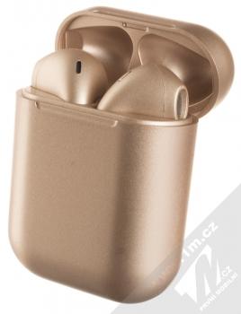 1Mcz i12 inPods Eleven Pro TWS Bluetooth stereo sluchátka růžově zlatá (rose gold) nabíjecí pouzdro se sluchátky