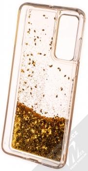 1Mcz Liquid Diamond Sparkle ochranný kryt s přesýpacím efektem třpytek pro Huawei P40 zlatá (gold) zepředu