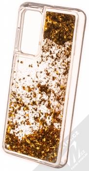 1Mcz Liquid Diamond Sparkle ochranný kryt s přesýpacím efektem třpytek pro Huawei P40 zlatá (gold) zezadu