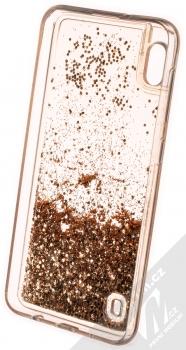 1Mcz Liquid Hexagon Sparkle ochranný kryt s přesýpacím efektem třpytek pro Samsung Galaxy A10 zlatá (gold) zepředu