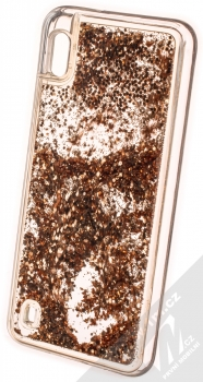 1Mcz Liquid Hexagon Sparkle ochranný kryt s přesýpacím efektem třpytek pro Samsung Galaxy A10 zlatá (gold) zezadu