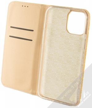 1Mcz Shining Book třpytivé flipové pouzdro pro Apple iPhone 12 Pro Max zlatá (gold) otevřené