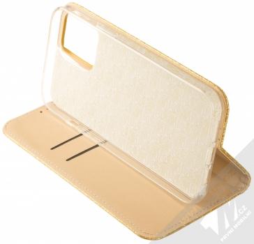 1Mcz Shining Book třpytivé flipové pouzdro pro Apple iPhone 12 Pro Max zlatá (gold) stojánek