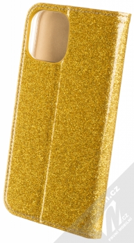 1Mcz Shining Book třpytivé flipové pouzdro pro Apple iPhone 12 Pro Max zlatá (gold) zezadu